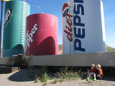 Giant soda cans in Salina UT