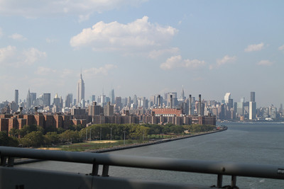 The view back into the city from Brooklyn- crossing the Williamsburg Bridge