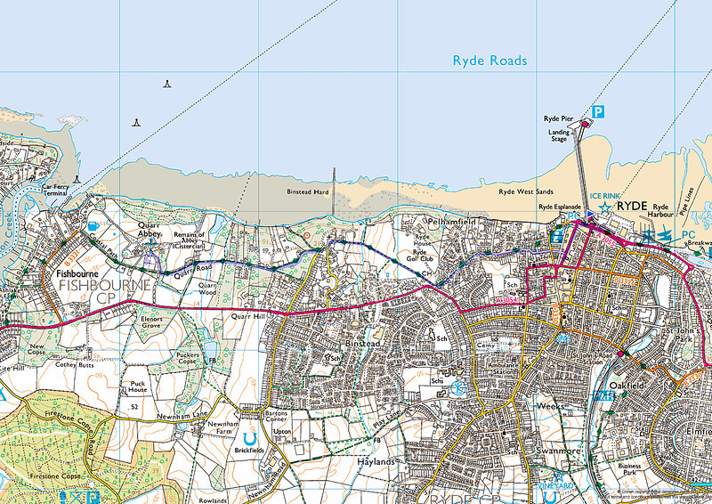 The blue line is the route to Quarr Abbey from Ryde pier