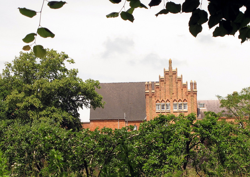 Quarr Abbey from the entrance drive.