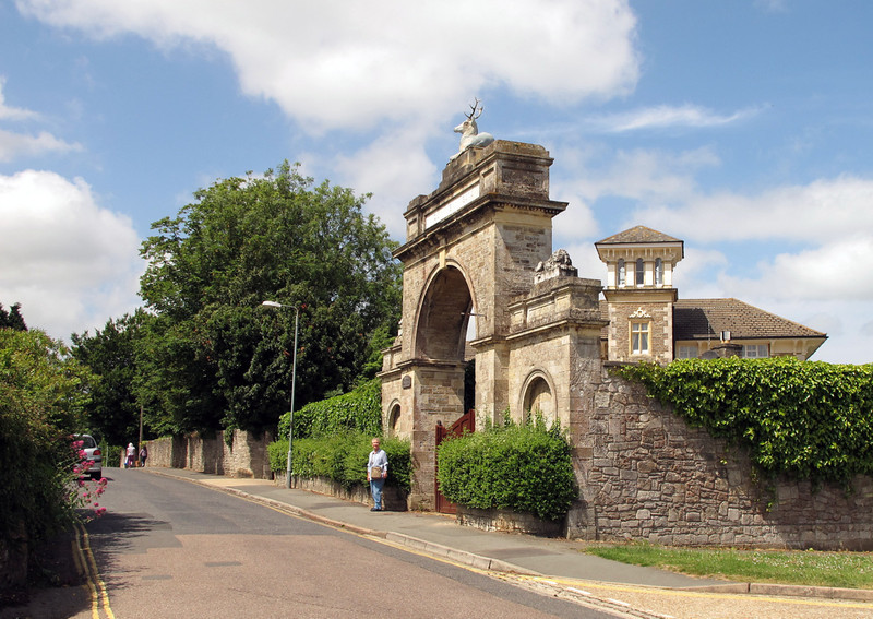 Westfield Park House behind The lodge and old entrance gate.