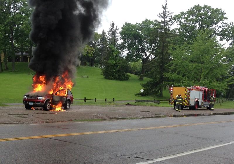 2015-june-03<br /> <br /> Burning car on Glenwood Avenue near Wirth Pavilion.