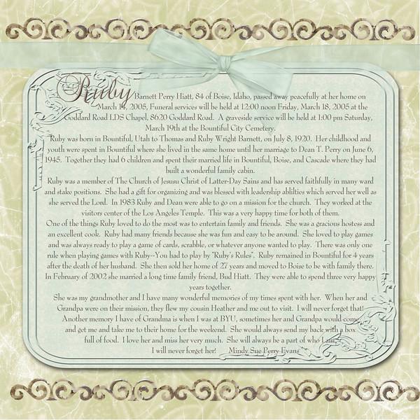 Ruby obituary copy