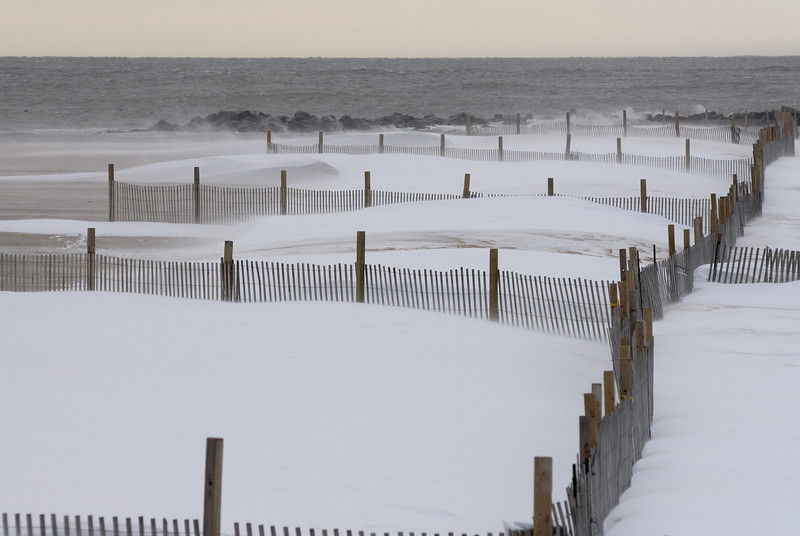 Sand fences became snow fences at the Inlet...........