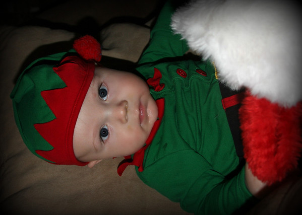 A very serious elf. . . .Mason Vandergrift son of Chris and Julie Vandergrift Grandson of Patti Safford<br /> <br /> Photographer's Name: Patti  Safford<br /> Photographer's City and State: Anderson, IN