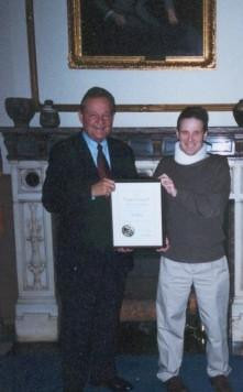 Hall of Fame songwriter Steve Wallace of Anderson recieving the Distinguished Hoosier award From the late Indiana Gov. Frank O'Bannon in Dec. 2002.<br /> <br /> Photographer's Name: Beth Walker<br /> Photographer's City and State: Anderson, IN