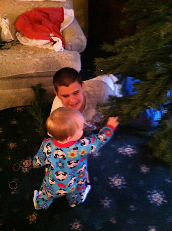 Abby asking Benjamin of Anderson if she is making grandma's Christmas tree pretty?<br /> <br /> Photographer's Name: Mindy Winningham<br /> Photographer's City and State: Anderson , Ind.