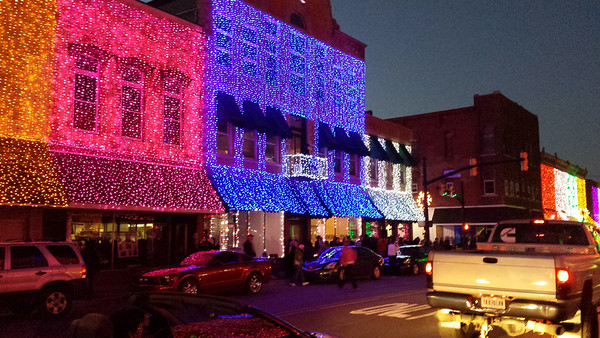 Beautiful lights in downtown Elwood.<br /> <br /> Photographer's Name: Vickie Takacs<br /> Photographer's City and State: Elwood, Ind.