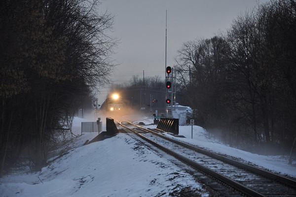 A cold and foggy morning in Alexandria as the eastbound Norfolk Southern passes through Alexandria in December.<br /> <br /> Photographer's Name: David Steele<br /> Photographer's City and State: Alexandria, Ind.