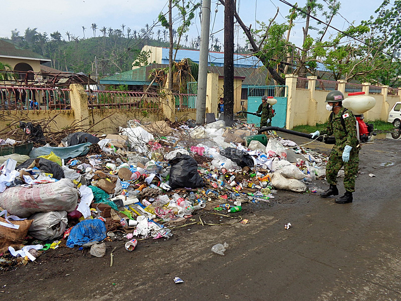 Fumigation in downtown Tacloban by Japanese Self-Defense Force after Typhoon Yolanda