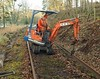 Jonathon removing a rail beside the Walled Garden on the Keith and Dufftown Railway on 27th December