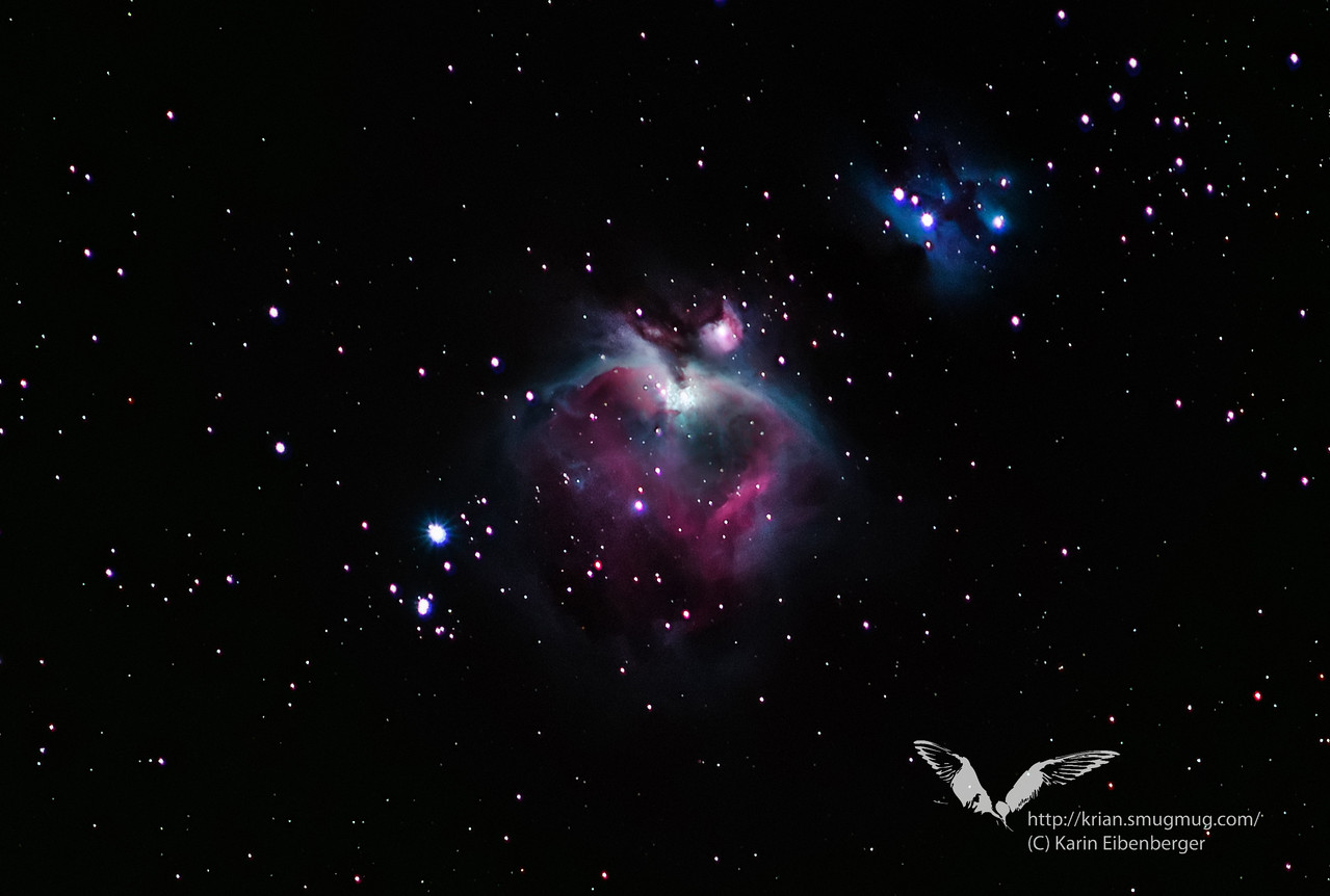 M42 - Orion Nebula<br /> Thanks to Peter Hochauer for freezing in the cold with us, for lending us his gear and for introducing us to the basics of astro photography! <br /> <br /> Taken at 300mm with my Canon EOS 5D in a cold night in Lunz/See in December 2010.<br /> Photoshop and Lightroom adjustments to enhance details. Color original as captured by the camera.