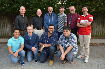 Hamming it up for the camera: James, Fr. Tim, Justin, Fr. John, Juancho, Fr. Bob, Gabriel, Joseph, Br. Duane and Fernando