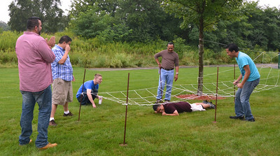 Most of the day it was too rainy to get outside, but the group tried a few activities on the lawn.