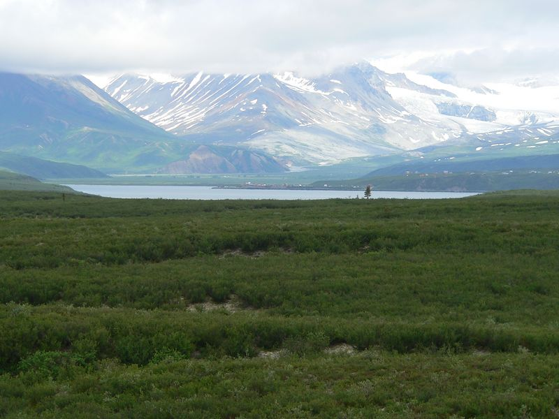 Summit Lake and cloud-shrouded Alaska Range beyond