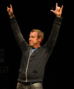 "Ian Merrill Peakes in the world premiere of the Denver Center Theatre Company's ""The Catch."" Photo by Terry Shapiro."