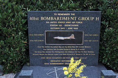 The memorial to the men of the 401st who flew 254 combat missions from Deenethorpe and to their comrades who failed to return.