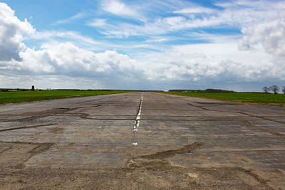 Standing on the threshold of main runway 22 at RAF Deenethorpe, Northamptonshire. This runway is still in use for small aircraft.