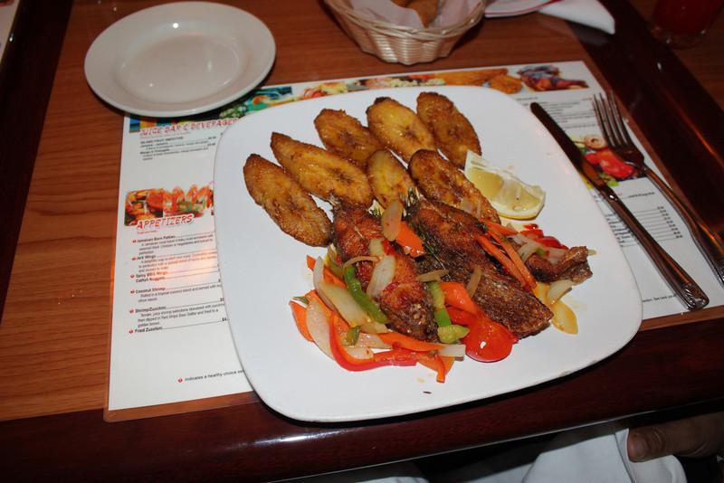 Tilapia and plaintain...an $8.50 special at Derrick's Jamaican Cuisine.