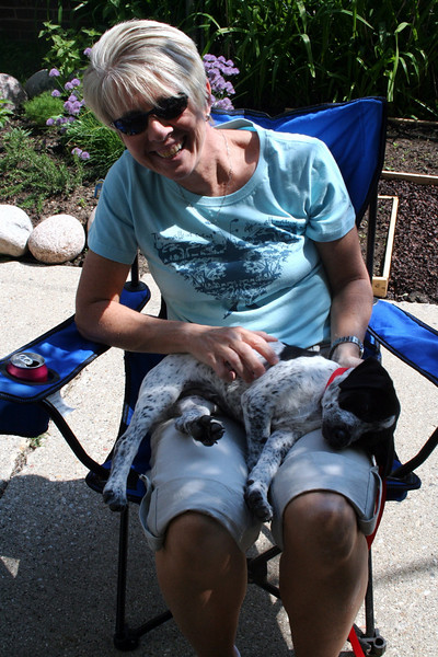 Barb shows that Dewey can be a lap dog.