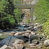The Pole Bridge spans the river above our picnic site.