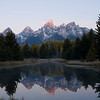 We arrived at this spot early - about 6 AM and 26 degrees - and waited for the sun to illuminate the high peaks.