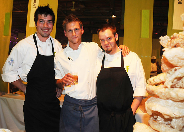 Lacroix at The Rittenhouse's Billy Riddle and Matthew Gentile with Chef Jason Cichonski. I tried to ply Jason with liquor to see if he would spill the secrets on his new restaurant, but to no avail.  For Feastival he made delicious pork rinds with a dipping sauce.