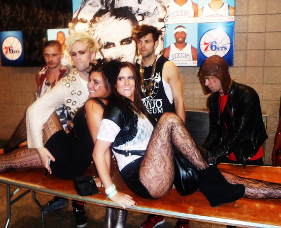 Lady Gaga's opening act was Semi Precious Stones.  Before she became big, she used to open for them.  Posing with a few fans.