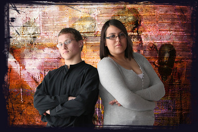 Sam and Val 2010. Background was a white sheet. Changed to a grunge looking wall and added a stroked border.