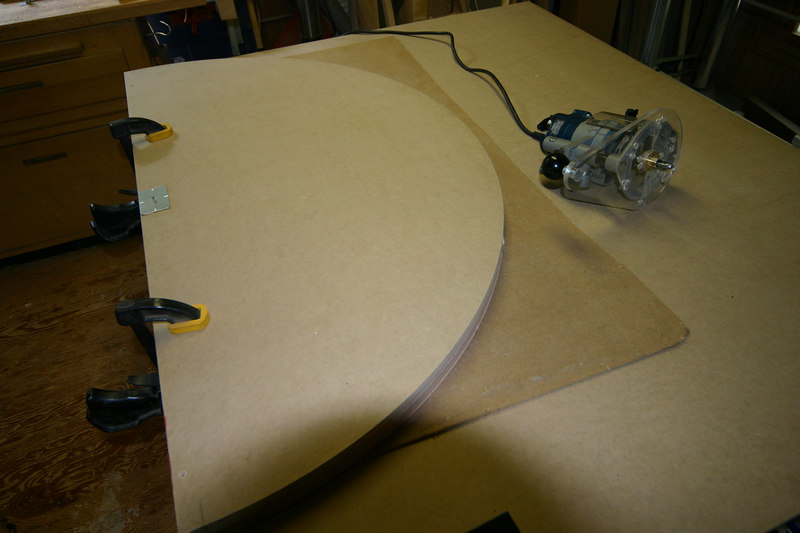 Cutting the round template from MDF