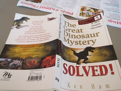 """I added this picture of a book I was reading during my time camping at KOA Mount Rushmore (Hill City, South Dakota)  http://www.answersingenesis.org/store/product/great-dinosaur-mystery-solved/?sku=10-2-092  Ken Ham explains how to understand earth's history … from a biblical perspective. He then applies this biblical foundation to the intriguing topic of dinosaurs!  more.. http://bible.goodnewseverybody.com  The Dinosaur Mystery Solved-John Morris part 1  http://youtu.be/92gy-_8Au1U   Forget Extinct: The Brontosaurus Never Even Existed by NPR Staff December 09, 2012 4:26 PM http://www.npr.org/2012/12/09/166665795/forget-extinct-the-brontosaurus-never-even-existed  """"...It was in the heat of this competition, in 1877, that Marsh discovered the partial skeleton of a long-necked, long-tailed, leaf-eating dinosaur he dubbed Apatosaurus. It was missing a skull, so in 1883 when Marsh published a reconstruction of his Apatosaurus, Lamanna says he used the head of another dinosaur — thought to be a Camarasaurus — to complete the skeleton...""""  The Dinosaur Mystery Solved-John Morris part 2   http://www.truthinscience.org.uk/tis2/index.php/component/content/article/48.html  """"...The fossil record is the cause of ongoing debate between evolutionists. On one side geneticists and theoreticians stand for Darwinian """"gradualism."""" They continue to claim that the lack of intermediate forms is due to the rarity of fossilisation and the imperfection of the fossil record. Thus, the fossil record is something which needs to be explained away – it is not good evidence for Darwinian evolution...""""  The Dinosaur Mystery Solved-John Morris part 4  http://youtu.be/_G_YHBJ10qE  You Don't """"Fit"""" Dinosaurs with the Bible! http://www.answersingenesis.org/articles/2000/04/14/dont-fit-dinosaurs  """"...Also, there is a lot of evidence (such as carvings and paintings of dinosaur-like creatures)—and (unfossilized) dinosaur bone with red blood cells—that makes sense in the light of the biblical account of h"""