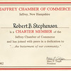 Membership in the Jaffrey Chamber of Commerce, 1982.