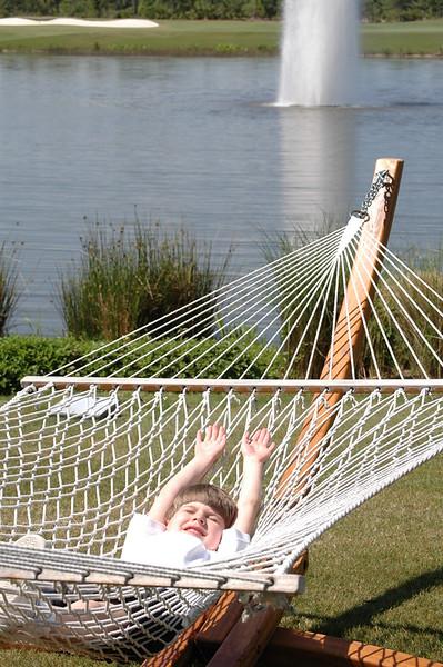 Zach in hammock at the hotel