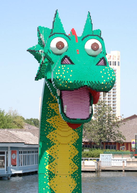 Dragon made of Legos in Downtown Disney