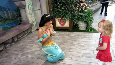Video of Ashley with Princess Jasmine.  At the end, Ashley tells Princess Jasmine about seeing the scary Captain Hook.
