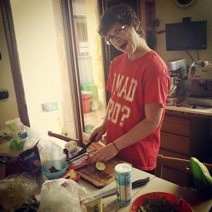 Wyatt prepares a meal