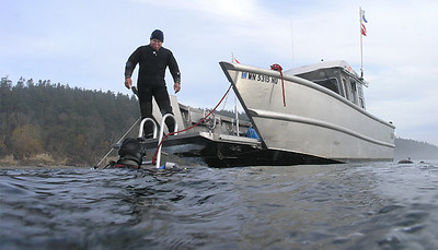 Returning to Xlendi Bay after dive on Camano Rocks, November 30, 2008