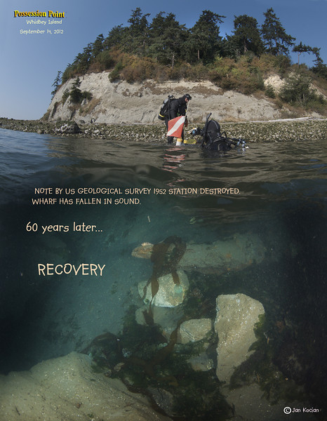 Benchmark monument recovery. Possession Point, Whidbey Island. September 14, 2012