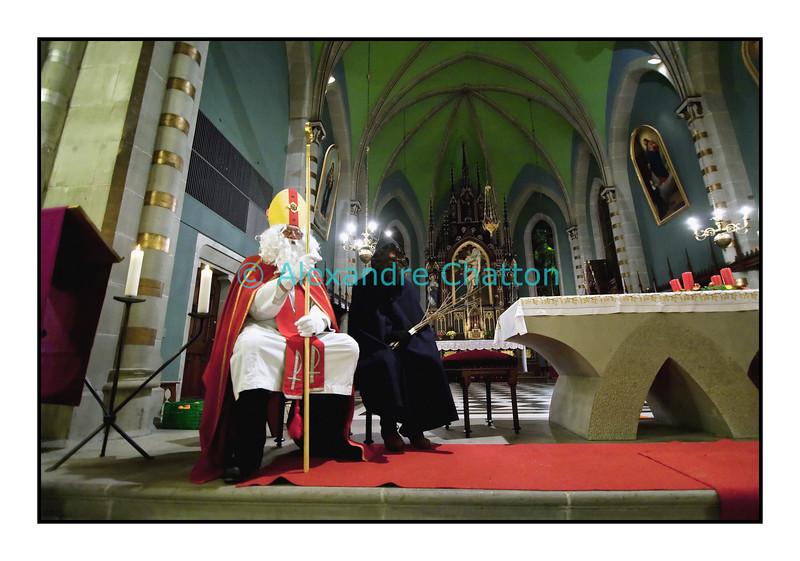Saint-Nicolas et le Père Fouettard, décembre 2009, canton de Fribourg.