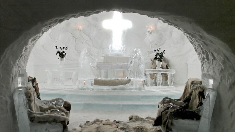 From the Ice Hotell in Alta, Norway. The Wedding Chapel in the hotell.