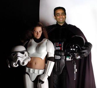 A parody of a newspaper photo. Doctored by Perry Patrick. Perry's caption: ... and then it hit him .... hey, this dark side ain't so bad after all ....