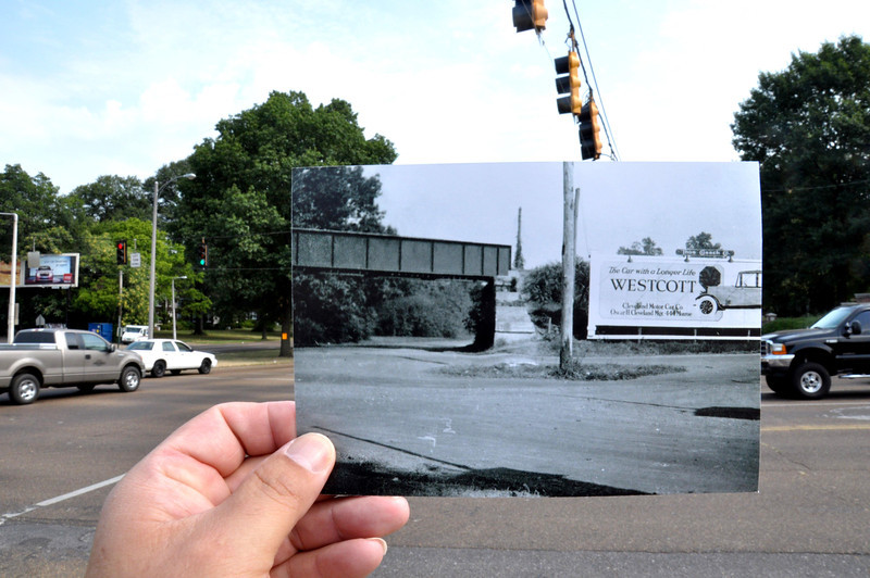East and Central 1920-22. The railroad trestle was removed in the 1950's and CBU moved there in the 1940. The billboard advertises Cleveland Motor Cars at 444 Monroe, which appears in the 1920 -1922 city directories<br /> <br /> Thanks to the Memphis Public Library history department