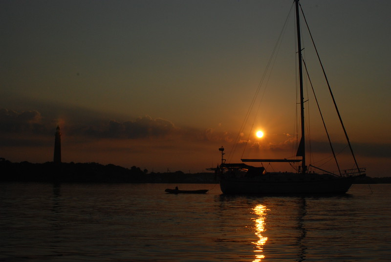Sunset, at anchor in Ponce Inlet