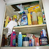 Upper shelf of broom closet.
