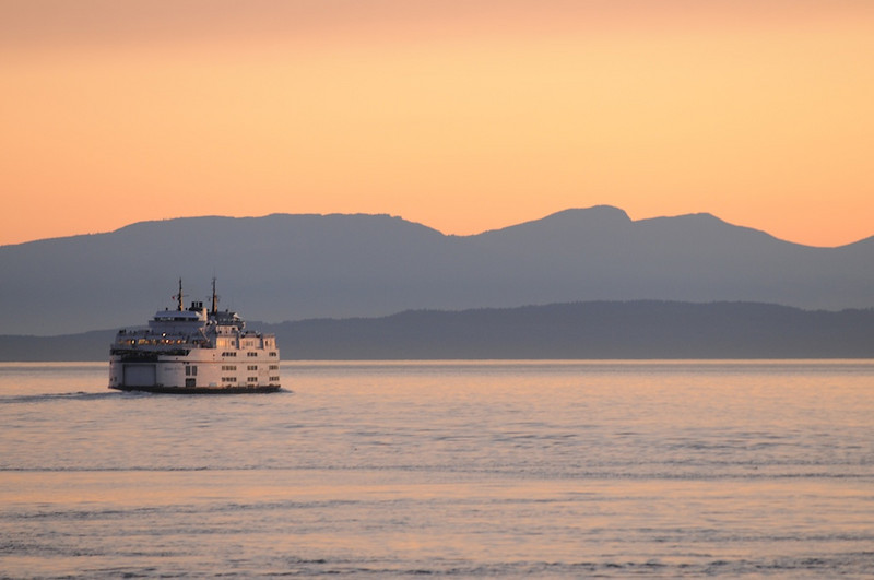 BC Ferries at sunset.