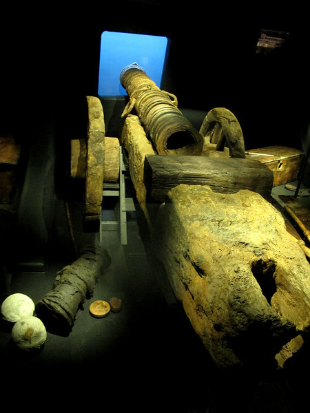 A Tudor gun, recovered from the wreck, preserved and placed in position where it would have been.