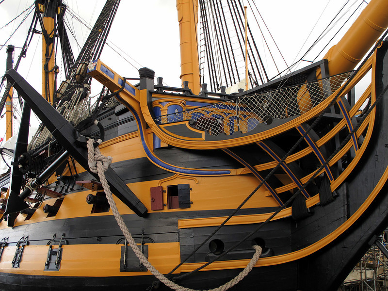 The Historic Dockyard Potsmouth and the bow (good side) of HMS Victory.