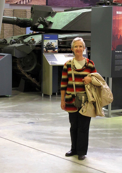 Her ladyship in front of a British Challenger 2 tank.