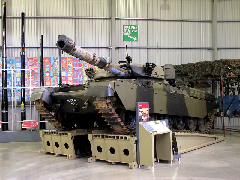 A Chieftain tank, the main British battle tank of the 1960s and 70s.