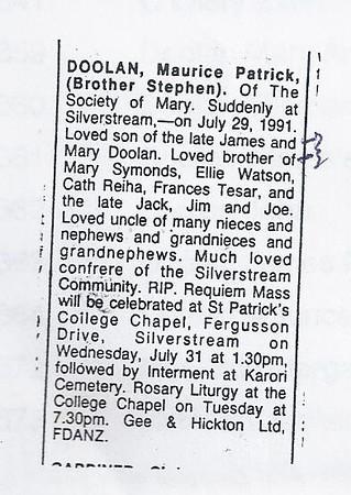 19910729 Maurice Doolan (Br Stephen) death notice-1